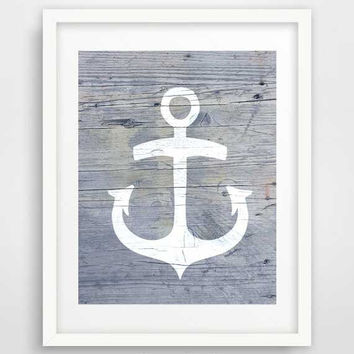 Nautical anchor art, anchor print, nautical bathroom decor, anchor decor, coastal wall art, rustic art, beach themed bathroom decor