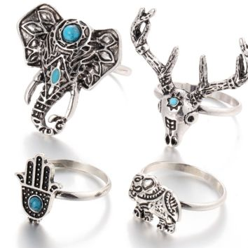Retro tail ring Bohemian wind elephant deer head unicorn palm turntable ring ring four sets
