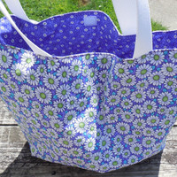 Daisy Eco Friendly, Reusable Tote bag, Book Tote, Handmade Tote