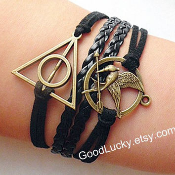 Mockingjay pin bracelet,catching fire,leather bracelet,Harry Potter bracelet,hipster jewelry,Hunger bird,Braided Bracelet,Games bracelet
