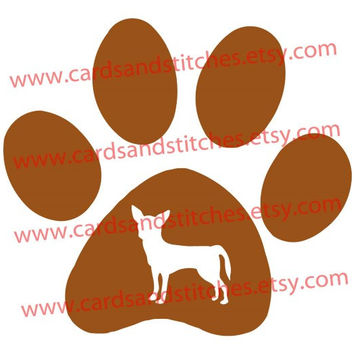 Dog Paw Print - Chihuahua - Vinyl Decal for Cars, Computers, Mugs or Iron-On (Glitter or Matt) Transfer for Shirts, Totes and More
