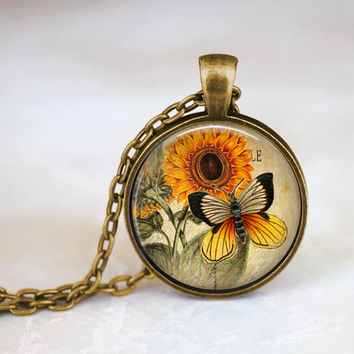 Butterfly and sunflower art pendant, fall style, autumn, vintage art jewelry, orange and yellow, sunflower art, shop small, shop local TN