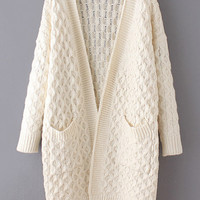 Beige Long Sleeve Ribbed Cardigan With Pockets