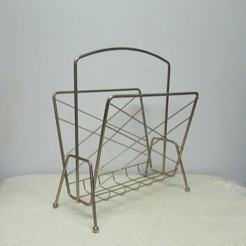 Brass Magazine Rack ~ Mid Century Modern ~ Atomic Style ~ Book Rack ~ 1960's ~ Album Holder ~ Magazine Rack with Handle ~ Mid Century