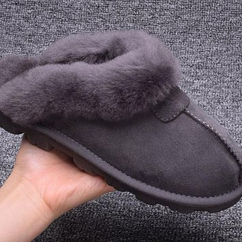 ESBON UGG Slipper Sheepskin Women Men Fashion Casual Wool Winter Snow Boots Grey