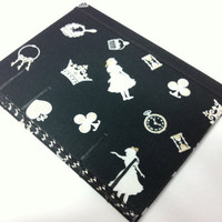 Alice in Wonderland Fabric Journal - Handmade - Coptic Stitched - Black Bakground with White and Gold Figures