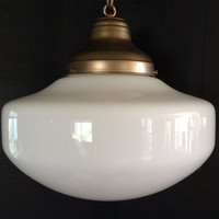 Antique Hanging Industrial or School House or Church Pendant Light Fixture 1920 - 1930s Milk Glass