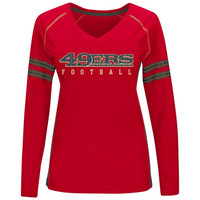 San Francisco 49ers Majestic Women's Deep Fade Route Long Sleeve T-Shirt - Scarlet