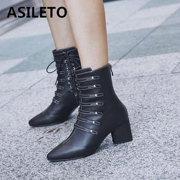 ASILETO brand ankle boots Women boots female High Heel Shoes punk Riding Boot botte femme Zipper Rivet Boots Booties mujer S639