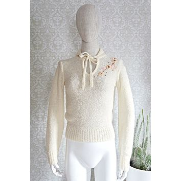 Vintage Dainty  Floral Embroidered Sweater