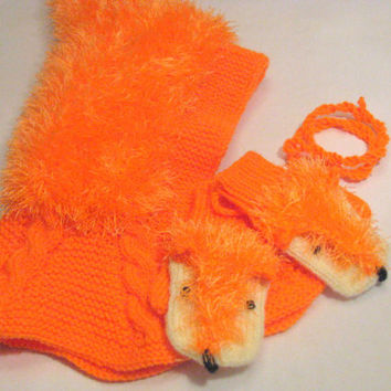 Woolly Balacalva Hat and fox mittens set, Baby/ Toddler/ Children Hoodie hat, orange Hat with Neck warmer, Helmet hat, 1-3-years