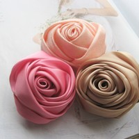 Romantic Summer. Handmade Fabric Rose Brooch.Hair Clips.Two Pieces