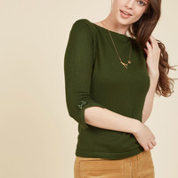 Up to Parisienne Knit Top in Fern | Mod Retro Vintage Sweaters | ModCloth.com
