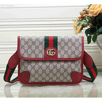 GUCCI Fashion Women Shopping Bag Metal GG Stripe Leather Satchel Crossbody Shoulder Bag Red I