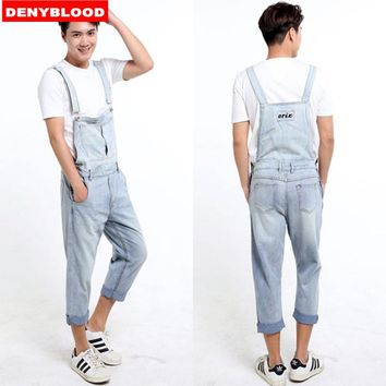Plus Size S-5XL Mens Denim Overalls Dark Washed Bleach Jeans Capris Loose Fit Cargo Pants Baggy Work Jeans Casual Pants 33143