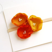Fall Baby Headband, newborn Headband, 3 Colour Baby girl Headband, Baptism Headband, Baby Headbands, Infant Headband, Baby Flower girl, Baby