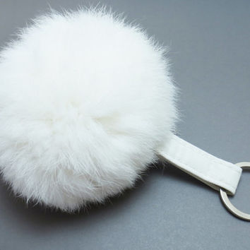 White, Pom Pom, Keychain, Pom, Pom, Keyring, White, Leather, Rabbit, Fur, Pom, Pom, Key, Chain, Key, Ring, Gift, Accessory