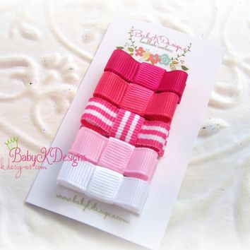 Baby K Designs Girls Pink n White Baby Hair Clips | Newborn Hair Clips | Itty Bitty Baby Bow Clips | Toddler Simple Bow Clips More Colors