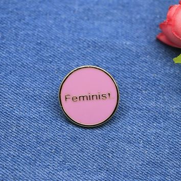 Trendy Pink Round Brooches Letter Feminist Enamel Pin for Girls Lapel Pin Hat/bag Pins Denim Jacket Shirt Women Brooch Badge SC4240 AT_94_13