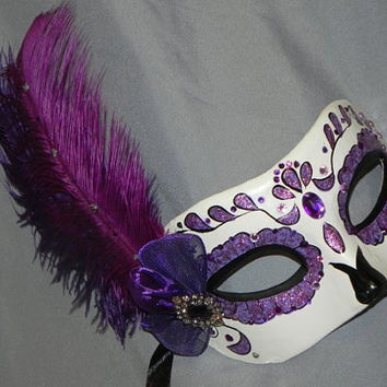 Purple, Black and White Day of the Dead Mask - Halloween Mask