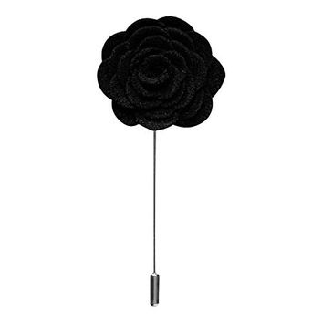 Harvest Male Fabric Boutonniere Flower Lapel Pin (Black) in Gift Box