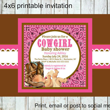 Country baby shower invitations, Cowgirl baby shower invitation, Cowboy boots, Printable, digital, social media, pink and brown, paisley
