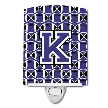 Letter K Football Purple and White Ceramic Night Light CJ1068-KCNL