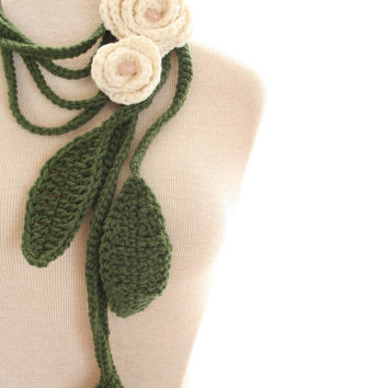 Crochet Double Rose Ivory Cream Lariat Necklace by nightowlcreates