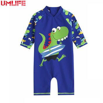 Child Swimwear One Piece Boys Swimsuits Cartoon Print Kids Bathing Suits Baby Boy Swimsuit Children Beach Wear With Back Zipper