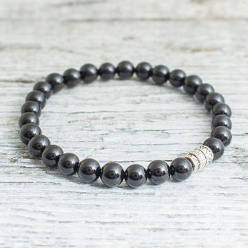 Black onyx beaded stretchy bracelet, mens bracelet, womens bracelet