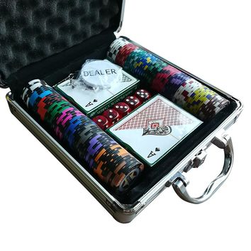 Poker Chips Set Casino Chips Texas Holdem Poker  Aluminum Box Set 100 Chips+2 Poker+5 Dice+1 Dealer Fichas Poker High Quality