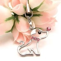 Pink Dog Cell Phone Charm Strap Cubic Stone