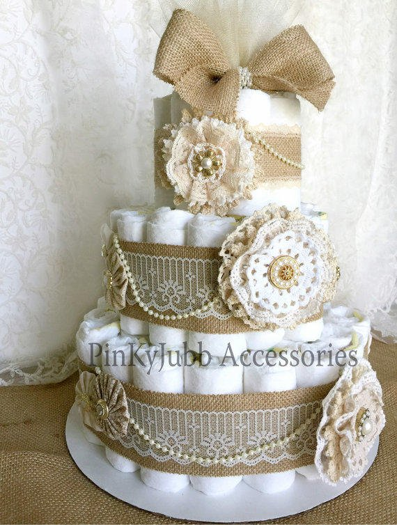 3 Tier Rustic   Shabby Chic Burlap Diaper From PinKyJubb On Etsy