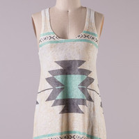 Aztec Print Racer Back Tank Top - Mint
