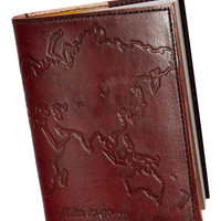 "Embossed Genuine Leather Refillable Journal (5"" x 7"") Miles to go World Traveler"