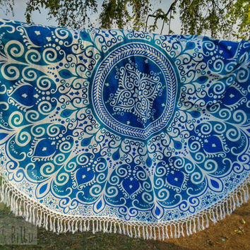 Beach throw round mandala tapestry, roundies mandala, picnic blanket, wall tapestry, round mandala, fringed, boho beach hippie ethnic style