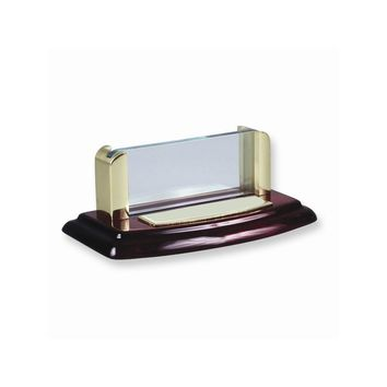 Wood and Glass Business Card Holder Desk Accessory