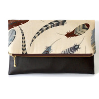 Fold over clutch Feather in cream and brown, envelope clutch, clutch purse, zippered clutch