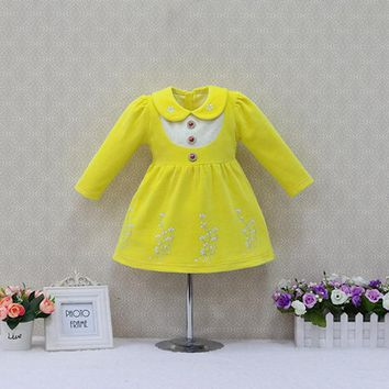Children Velour Party Lace dress New Year Girls Long Sleeve Dresses Baby Clothes
