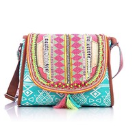 Shaun Design Women's Aztec Embroidered Cross Body Bag