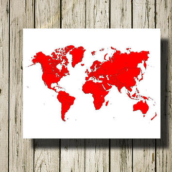 WORLD MAP Printable Instant Download Red and White Print Poster Home Decor Wall Art W023