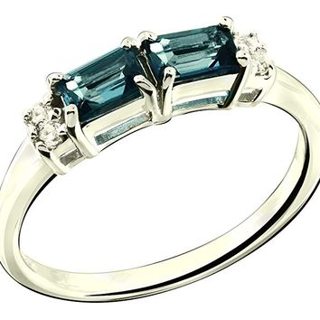 Sterling Silver 925 Ring LONDON BLUE TOPAZ and WHITE TOPAZ 0.92 Carats with Rhodium-Plated Finish