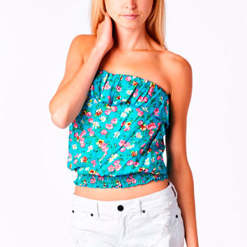 Teal Floral Print Smocked Tube Top