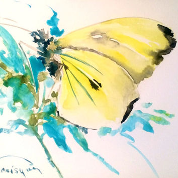 Yellow Butterfly, Original watercolor painting, 8 X 6 in, yellow green wall art