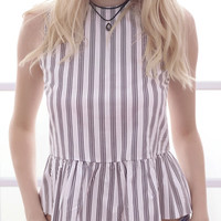Color Block Stripe Print Ruffle Vest
