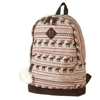 Landiya Girl's Fresh Lace Knitting Fawn Leisure Canvas Backpack for Student (Khaki)