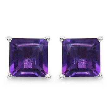 Natural 2.25CT Princess Cut Purple Amethyst Stud Earrings