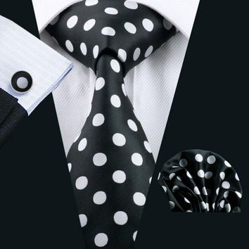 LS-1190 Men`s Tie Black Polka Dot 100% Silk Fashion Tie Hanky Cufflinks Set For Men Formal Wedding Party Business Free Postage