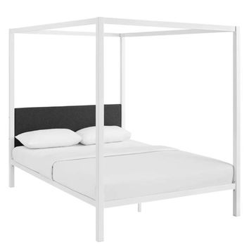 Raina Queen Canopy Bed Frame, White Gray -Modway