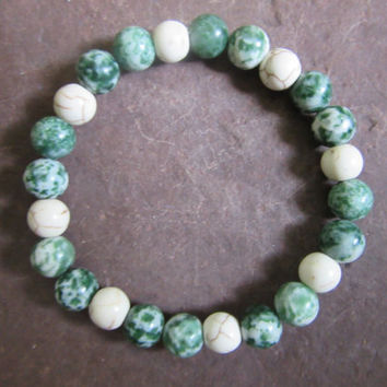 Connecting with nature - handmade stretch bracelet natural cream magnesite and tree agate 8mm beads Reiki infused JS